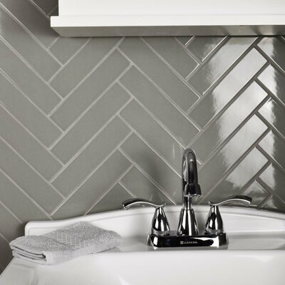 Retro1.75 x 7.75 Porcelain Subway Tile in Glossy Gray