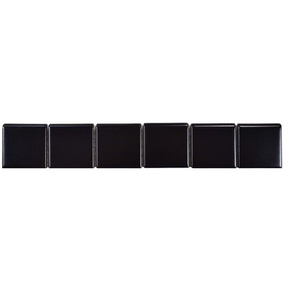 Retro 11.88 x 1.88 Porcelain Bullnose Tile Trim in Black