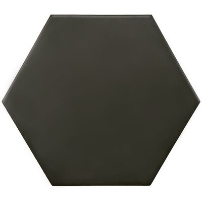 Hexitile 7 x 8 Porcelain Field Tile in Matte Black