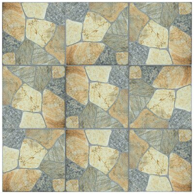 Isola 17.38 x 17.38 Porcelain Splitface Tile in Beige/Gray