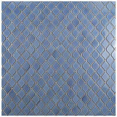 Arabesque 1.87 x 2.75 Porcelain Mosaic Tile in Blue