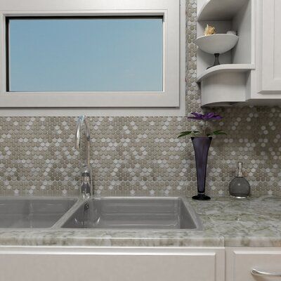 Vulcan 1 x 1 Metal/Porcelain Mosaic Tile in Stainless Steel