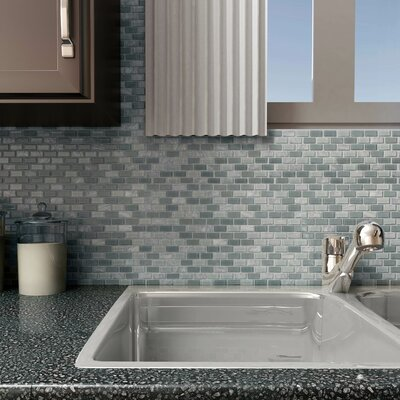 Ambit 1 x 2 Glass/Natural Stone Mosaic Tile in Fortress