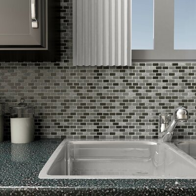 Ambit Glass/Natural Stone Mosaic Tile in Glossy Aegis