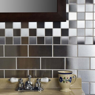 2 x 2 Metal/Porcelain Mosaic Tile in Stainless Steel