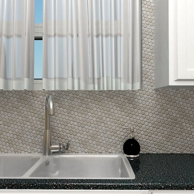 1 x 1 Metal/Porcelain Mosaic Tile in Polished Stainless steel