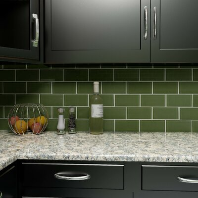 Sierra 3 x 6 Glass Subway Tile in Sage