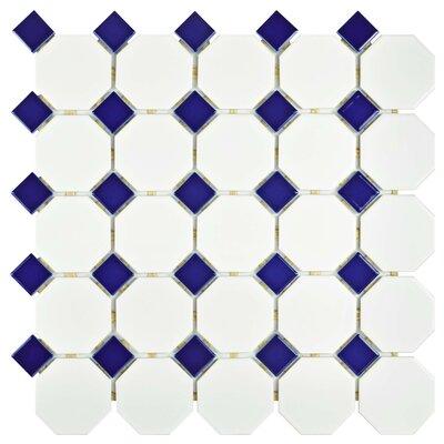 Retro Random Sized Porcelain Mosaic Tile in Matte White/Cobalt