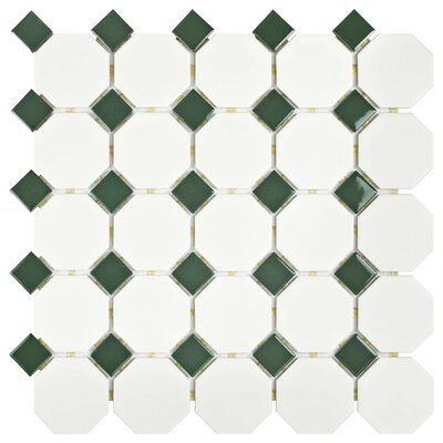 Retro Random Sized Porcelain Mosaic Tile in Matte White/Green