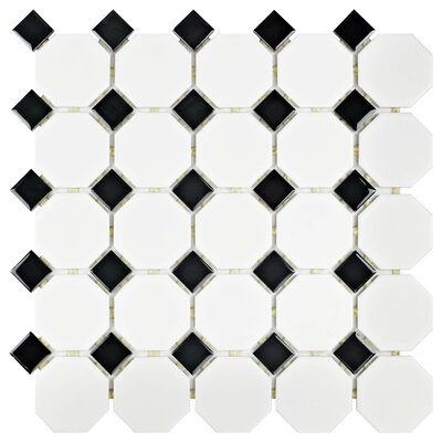 Retro 11.5 x 11.5 Porcelain Mosaic Tile in Matte White and Black