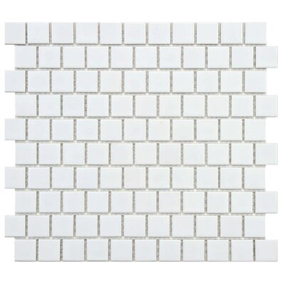 Retro Square Offset 1 x 1 Porcelain Mosaic Tile in Glossy White