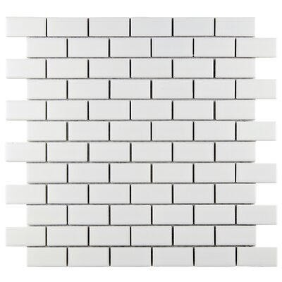 Retro 0.88 x 1.88 Porcelain Mosaic Tile in Matte White