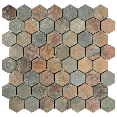 Peak 1.38 x 1.38 Natural Stone Mosaic Tile in Brown/Gray