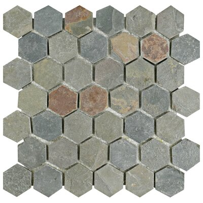 Peak Hexagon 1.88 x 1.88 Slate Mosaic Tile in Gray