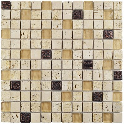 Abbey 0.88 x 0.88 Glass/Natural Stone/Metal Mosaic Tile in Beige