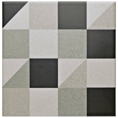 Heather 5.88 x 5.88 Porcelain Field Tile in Gray/Black