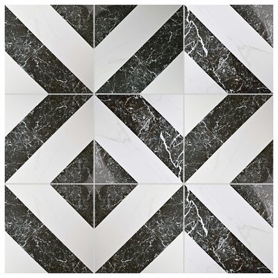 Eleganza 17.75 x 17.75 Porcelain Field Tile in Black/White