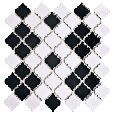 Pharsalia 12.375 x 12.5 Porcelain Floor and Wall Tile in Glossy Black/White