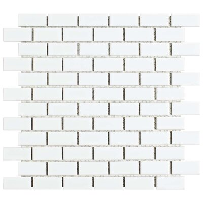 Marian 1 x 2 Porcelain Mosaic Tile in Glossy White