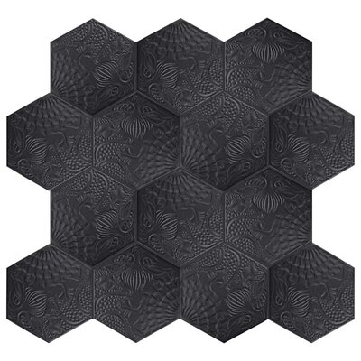 Soprano 8.63 x 9.88 Porcelain Field Tile in Black