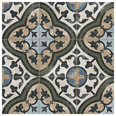 Conceptum 9.75 x 9.75 Porcelain Floor and Wall Tile in Green/Black