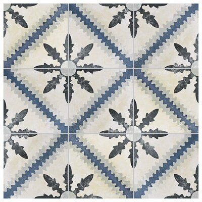 Conceptum 9.75 x 9.75 Porcelain Field Tile in Blue/Beige
