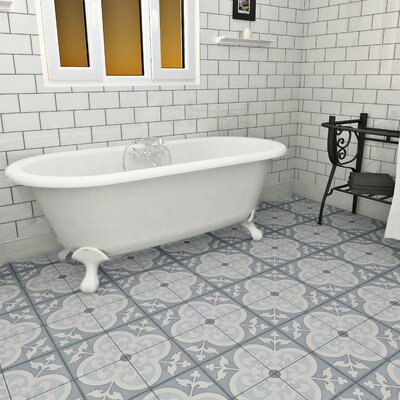 Ciment 7.88 x 7.88 Cement Floor and Wall Tile in Blue/White
