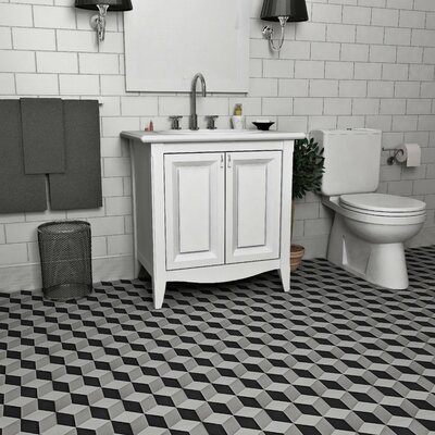 Ciment 7.88 x 7.88 Cement Field Tile in Gray/Black