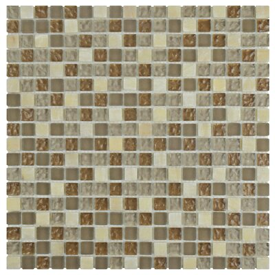 Sierra 0.58 x 0.58 Glass and Natural Stone Mosaic Tile in Amber