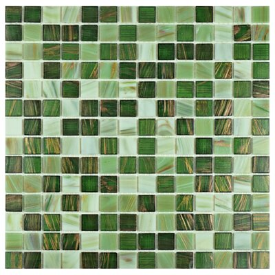 Fused 0.75 x 0.75 Glass Mosaic Tile in Forest Green