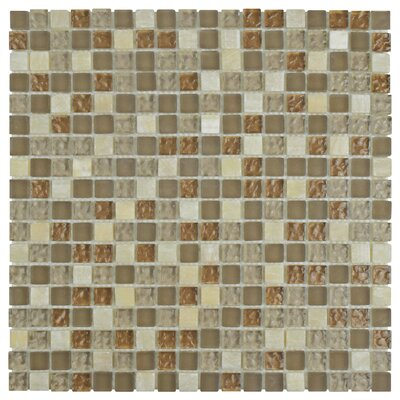 Sierra 0.625 x 0.625 Glass and Natural Stone Mosaic Tile in Amber