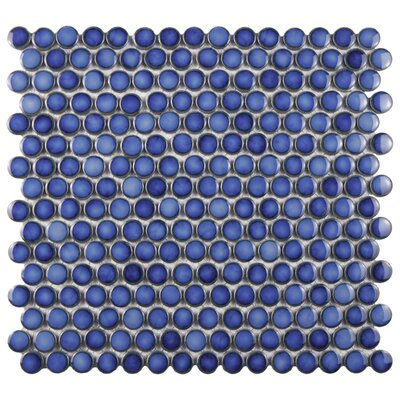Penny 0.8 x 0.8 Porcelain Mosaic Tile in Sapphire