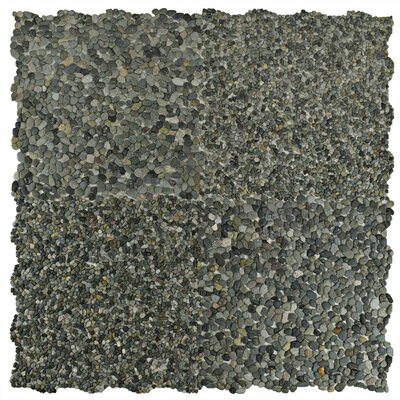 Kamyk Mini 12.25 x 12.25 Pebble Stone Mosaic Tile in Matte Green
