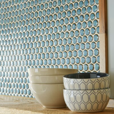 Penny 0.8 x 0.8 Porcelain Mosaic Tile in Marine
