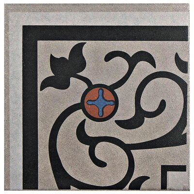 Cementa 7 x 7 Ceramic Glazed Decorative Murals Tile in And Esquina