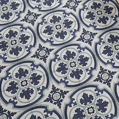 Ciment 7.88 x 7.88 Cement Field Tile in Blue/White