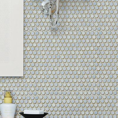 Penny 0.8 x 0.8 Porcelain Mosaic Tile in Frost Blue