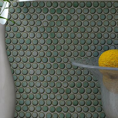 Penny 12 X 12.625 Porcelain Mosaic Tile in Mint Green