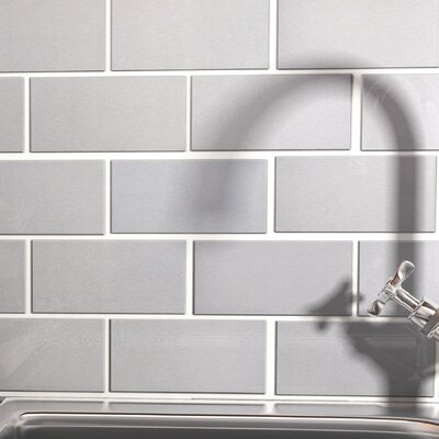 Vulcan 3 x 6 Stainless Steel and Porcelain Subway Tile in Silver