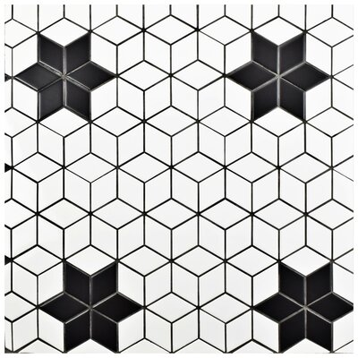 Retro Rhombus 1.88 x 3.18 Porcelain Mosaic Tile in Bright White