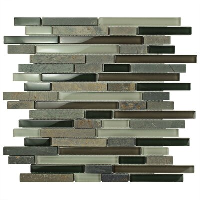 Sierra Random Sized Glass and Stone Mosaic Tile in Gray