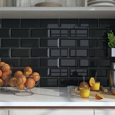 Thira 4 x 8 Ceramic Subway Tile in Biselado Nero