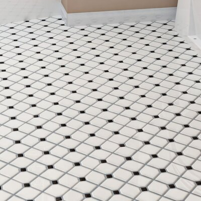 Retro Broadway 11.75 x 11.75 Porcelain Mosaic Tile in Matte White/Black