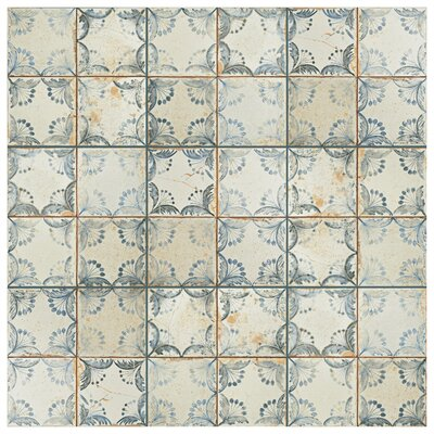 Alberta 13 x 13 Ceramic Field Tile in Blue/Beige