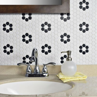 Retro Hexagon 0.875 x 0.875 Porcelain Mosaic Tile in Glazed White/Black