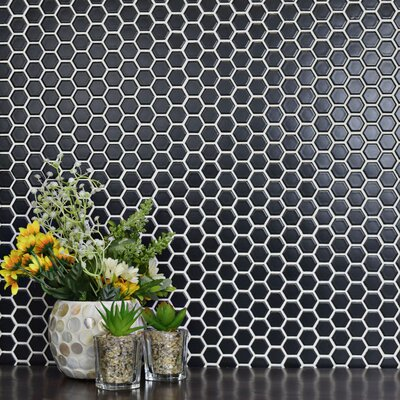 Retro 0.875 x 0.875 Hex Porcelain Mosaic Tile in Matte Black