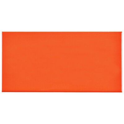 Prospect 3 x 6 Ceramic Subway Tile in Glossy Tangerine Orange