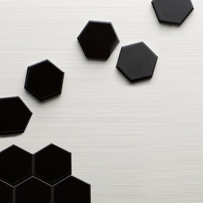 Retro Hexagon 2 x 2 Porcelain Mosaic Tile in Glossy Black
