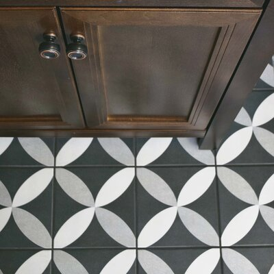 Forties 7.75 x 7.75 Ceramic Floor and Wall Tile in Petal White and Gray