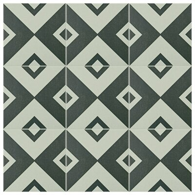 Forties 7.75 x 7.75 Ceramic Field Tile in Vertex White/Gray